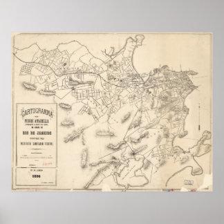Vintage Map of Rio de Janeiro Brazil (1896) Poster