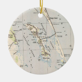 Vintage Map of Roanoke Island & Outer Banks NC Ceramic Ornament