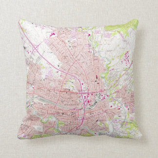 Vintage Map of Roanoke Virginia (1963) Cushion