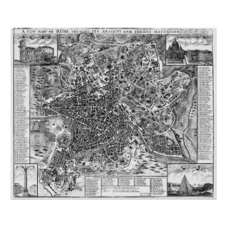 Vintage Map of Rome Italy (1721) BW Poster