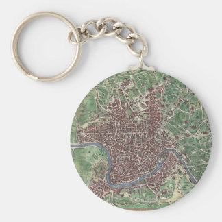 Vintage Map of Rome Italy 1721 Keychain