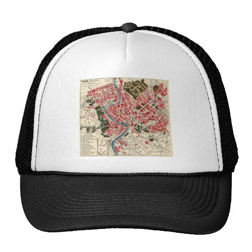 Vintage Map of Rome, Italy. Hat