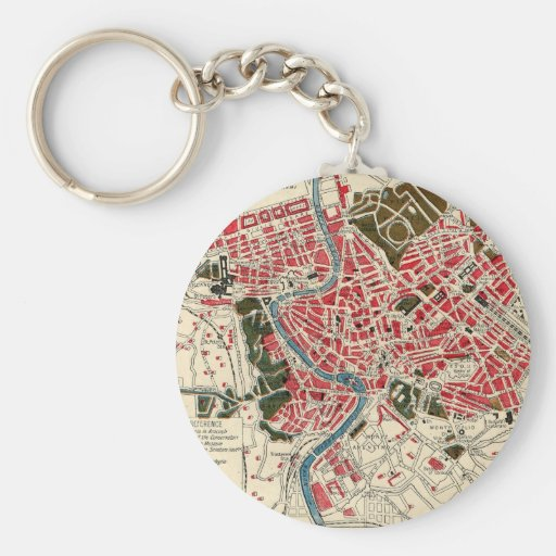 Vintage Map of Rome, Italy. Key Chain