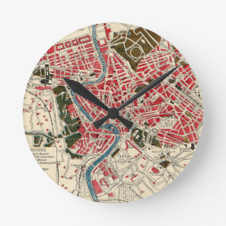 Vintage Map of Rome, Italy. Round Clock