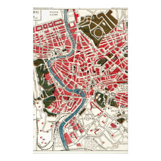 Vintage Map of Rome, Italy. Stationery Paper