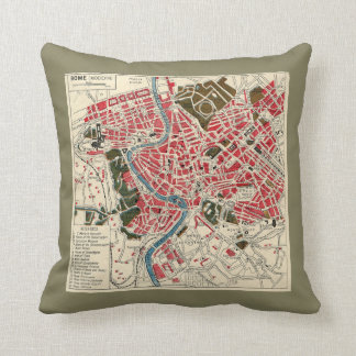 Vintage Map of Rome Pillow