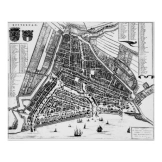 Vintage Map of Rotterdam Netherlands (1649) 2 BW Poster