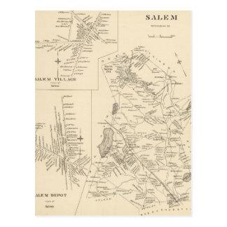 Vintage Map of Salem Massachusetts (1892) Postcard