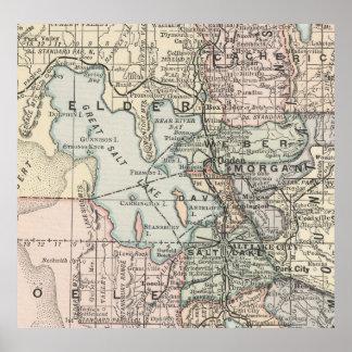 Vintage Map of Salt Lake City (1891) Poster