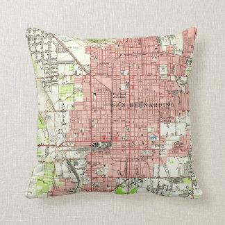 Vintage Map of San Bernardino California (1954) Cushion