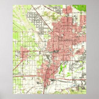 Vintage Map of San Bernardino California (1954) Poster