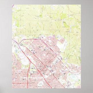 Vintage Map of San Fernando California (1966) Poster