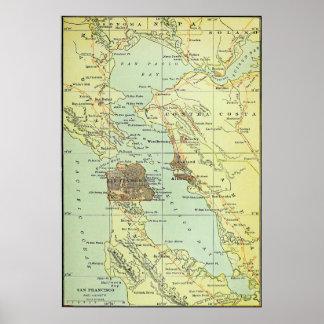 Vintage Map of San Francisco California (1905) Poster