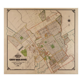 Vintage Map of San Jose California (1886) Poster