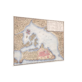 Vintage Map of San Juan Puerto Rico (1770) Canvas Print