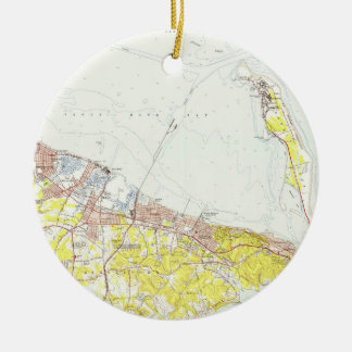 Vintage Map of Sandy Hook NJ (1954) Ceramic Ornament