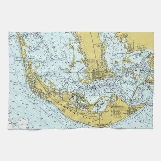 Vintage map of Sanibel Island, Florida Tea Towel