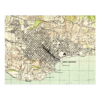 Vintage Map of Santa Barbara California (1944) Postcard