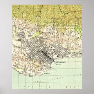 Vintage Map of Santa Barbara California (1944) Poster