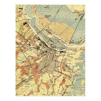 Vintage Map of Savannah Georgia (1942) Postcard