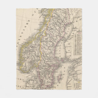Vintage Map of Scandinavia (1857) Fleece Blanket