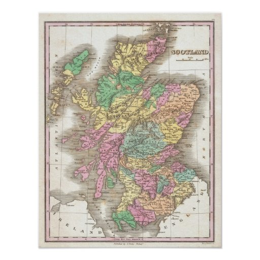 Vintage Map of Scotland (1827) Posters