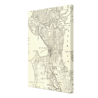 Vintage Map of Seattle (1914) Canvas Prints