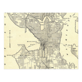 Vintage Map of Seattle (1914) Post Card