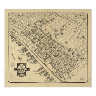 Vintage Map of Seattle Downtown, 1903 Poster