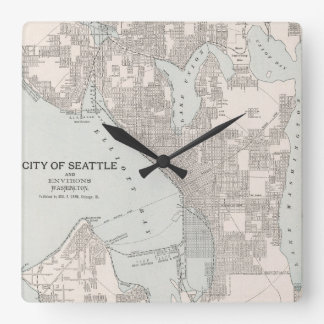 Vintage Map of Seattle Washington (1901) Square Wall Clock