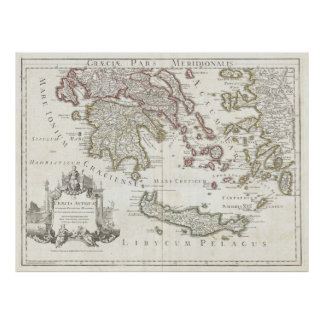 Vintage Map of Southern Greece (1794) Poster