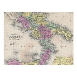 Vintage Map of Southern Italy 1853 Postcards