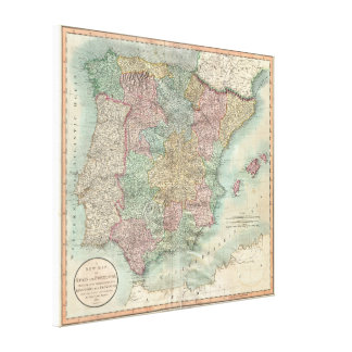 Vintage Map of Spain and Portugal (1801) Canvas Print