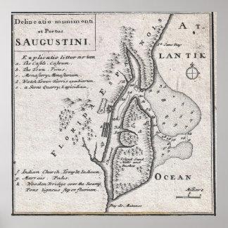 Vintage Map of St. Augustine Florida (1737) Poster