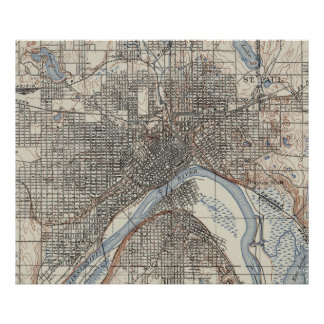 Vintage Map of St. Paul Minnesota (1894) Poster