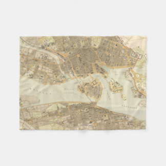 Vintage Map of Stockholm (1899) Fleece Blanket