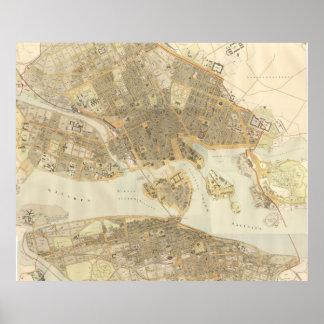 Vintage Map of Stockholm (1899) Poster