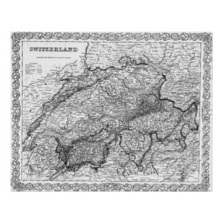 Vintage Map of Switzerland (1856) BW Poster