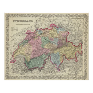 Vintage Map of Switzerland (1856) Poster