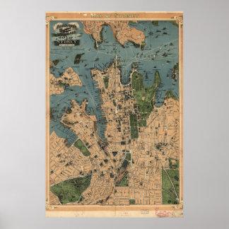 Vintage Map of Sydney, Australia Poster