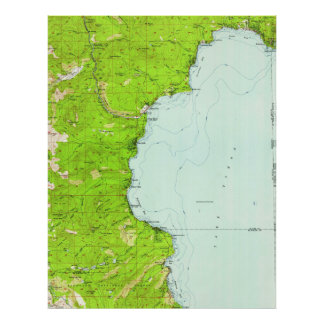 Vintage Map of Tahoe California (1955) Poster