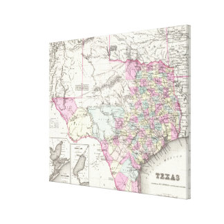 Vintage Map of Texas (1855) Gallery Wrapped Canvas