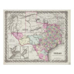 Vintage Map of Texas (1855) Posters