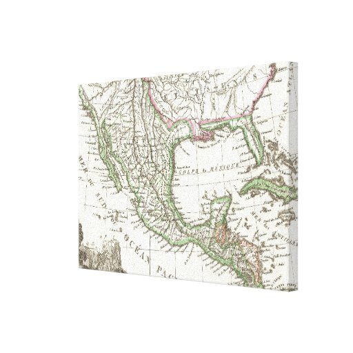 Vintage Map of Texas and Mexico Territories (1810) Gallery Wrap Canvas