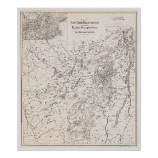 Vintage Map of the Adirondacks New York Poster