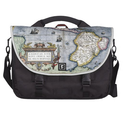 Vintage map of the Americas Laptop Commuter Bag