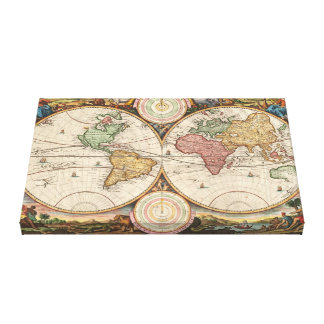 Vintage Map of the Ancient World: Two Hemispheres Canvas Print