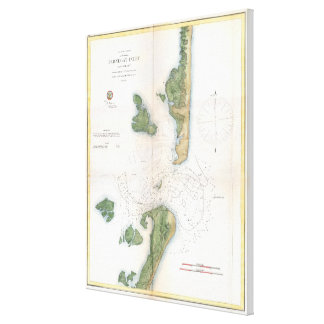 Vintage Map of The Barnegat Inlet (1865) Canvas Print