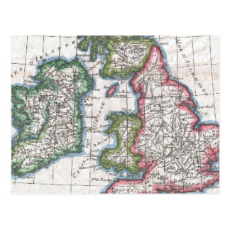 Vintage Map of The British Isles (1780) Postcard