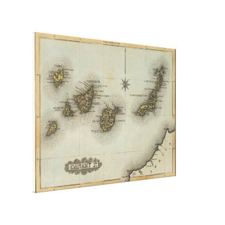 Vintage Map of The Canary Islands (1823) Canvas Print